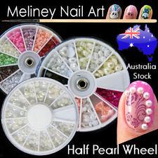 Nail Art Half Pearl Wheel Various Size Colour Craft DIY Rhinestones Decorations