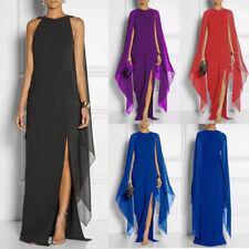Women's Elegant Long Maxi Evening Prom Party Cape High Split Dresses Cocktail