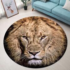 Round Floor Mat Bedroom Living Room Area Rugs Wild Animals King Lion Portrait