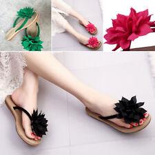 Women Summer Beach Flower Flat Indoor Outdoor Slippers Flip Flops Sandals Shoes