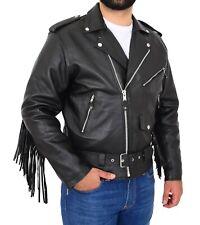 Mens Black Cowhide Biker Jacket With Leather Fringes Belt Tasselled Brando Coat