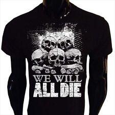 Todos vamos a morir Camiseta para hombre Pila de cráneo Goth Rock Punk Emo horror WD1