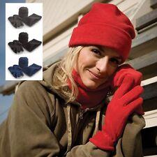 Gris Azul Marino Rojo O Negro Forro Polar Cálido Juego de accesorios - Sombrero