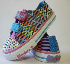 Girls Skechers Twinkle Toes Shuffles Pink Multi Infant New £13.99