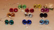 S/P Stud Earrings & 10mm Resin Rhinestones- Wedding-Gifts-Anniversary-11 Colours