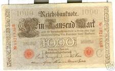 OLD GERMAN  REICHSBANKNOTE  1000 MARK 1910 RED STAMP