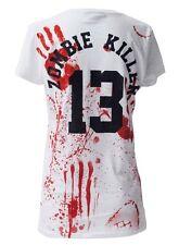 ZOMBIE KILLER 13 GENUINE DARKSIDE WOMENS ZOMBIE BLOOD SPLATTER WHITE T SHIRT