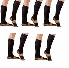 5 Pair Black Copper Compression Support Socks 20-30 mmHg Graduated Men's Women's