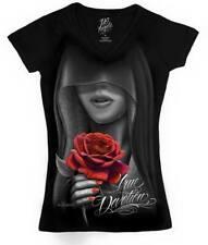 DGA Devotion Womens Black V Neck T Shirt Tattoo Urban Streetwear