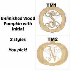 Unfinished Wood Pumpkin Monogram Laser Cut Door Hanger with Your Initial