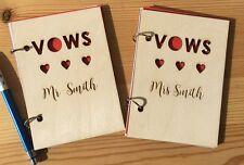 Personalizzato inciso in legno Voti Nuziali Notebook Blocco Note MR/MRS MR/MRS MR/MRS