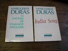 lot de 2 livres de marguerite Duras India Song  Le théâtre de l'amante anglaise