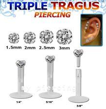 "1PC 16g 1/4"" 5/16"" Bio Flex Push-In 925 Silver Prong Set CZ Labret Monroe Tragus"