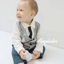 Baby Boys Kids Toddlers Gentlemen Pageboy Tie Vest Tuxedo Romper Suits Outfits