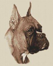 "Boxer Dog Cross Stitch Design (Sepia,8""x10"",20x25cm,kit or chart)"