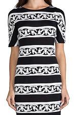NEW Authentic DVF Diane von Furstenberg BRENNA Black White Dress