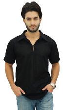 chemise indienne vêtements casual col court en coton noir kurta hommes Atassi
