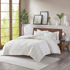 Soft 100% Cotton White Geometric Chenille 3 pcs Comforter Cal King Queen Set