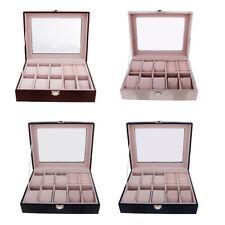 10 Slots Watch Storage Box Organizer Display Case PU Leather with Glass Top