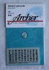 Archer 1/35 US & Allied Generic Interior Data Placards (Black on Brass) AR35210X