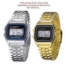 Retro Women Men Stainless Steel LED Digital Alarm Sport Stopwatch Wrist Watch PH