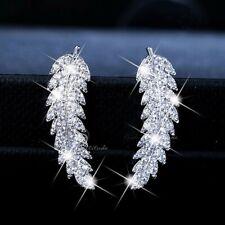 Vintage Women 925 Silver White Topaz Leaf Ear Hook Dangle Drop Earrings Gift