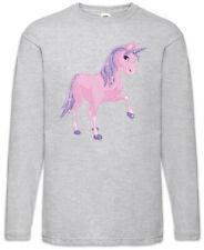 Pink Unicorn Long Sleeve T-Shirt Toon Comic Look Princess Fairies Fun Music
