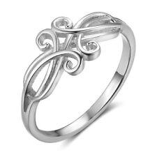 925 Sterling Silver Flower Vine Swirl Design Ring Size 6-8