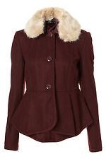 Nueva chaqueta de cuello de piel de imitación encantadora TOPSHOP UK 10 en berenjena