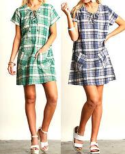 Umgee Dress Size S M L Blue Green Plaid Beach Wear Shift Tunic Boho Womens New