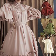 Elegant Lolita Women Dress Solid Loose Puff Sleeve Ruffle Princess Dress S-5XL