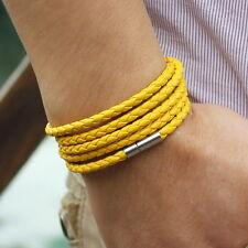 Bracelet en cuir Cuir Jaune Jaune Hommes Femmes Bracelets cuir unisexe