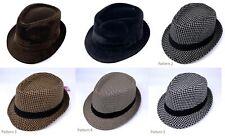 Men's Winter Trilby Hat Velvet Check pattern