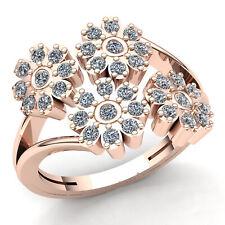 1ctw Round Cut Diamond Ladies Bridal Flower Engagement Ring 14K Gold