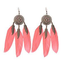 Bohemain Multi-color Feather Earrings Bronze Hollow Round Eardrop Earrings Gift