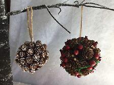 Berry Pine Cone Foliage Balls Vintage Christmas Decorations Gisela Graham Balls