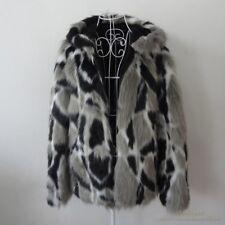 Mens Warm Real Rabbit Fur Thicken Warm Coat Slim Fit Jackets New  Hood Collar