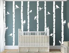 Wandaufkleber: Wald - Bäume Vögel Kinderzimmer Birke Natur Babyzimmer WandTattoo