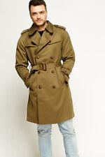 Men Vintage Khaki Coat Double Breasted Belt Lapel Knee Long Pocket Trench Jacket