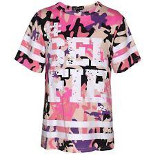 Girls Top Kids Designer's #Selfie Print Camouflage Fashion T Shirt Top 7-13 Yrs