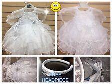 New Baby Girls Christening/Baptism Dress>White>Bow>>Sizes 00-6 :)