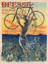 REPRO AFFICHE ANCIENNE DEESSE PARIS VELO BICYCLETTE