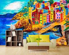 3D Cute house, boat, sea Wall Paper Print Wall Decal Deco Indoor Wall Murals