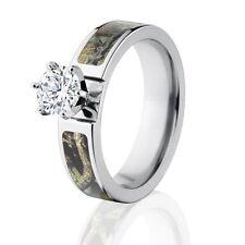 Mossy Oak Break Up Infinity Wedding Camo Ring w/ 1 CT CZ 14k WG Setting