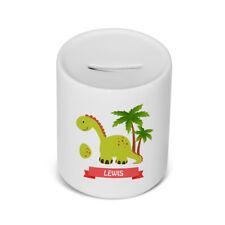 PERSONALISED Ceramic Children's money / saving box in Dinosaur Green Design Gift