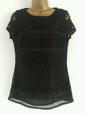 NEW M&S 6-12 Cotton Rich Black Lace Top Blouse Tee