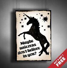 Unicorns Funny Quote Poster A3 / A4 Size* Retro Vintage Wall Art Print Gift Idea