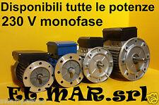 Motore Elettrico Monofase Flangiato B5 giri 2800 1400 900 rpm poli 2 4 6 230 V