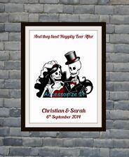 Gorgeous Personalised Wedding Skull Wall/ Word Art - Wedding gift *Emo*Goth*Punk