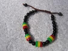~Selassie~Reggae~Ethiopia~ Jamaica~Bracelet- New Lion Of Judah~Rasta~Beaded~Marley